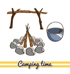 Camping time campfire vector