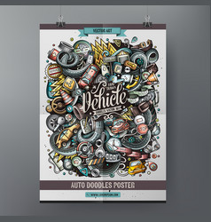 cartoon colorful hand drawn doodles auto poster vector image