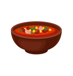 ceramic bowl of spicy mexican soup with beans vector image