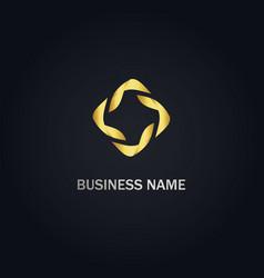 Circle abstract design gold logo vector