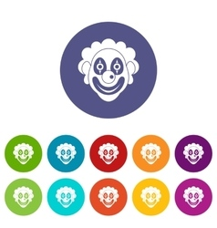 Clown set icons vector image