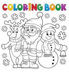 Coloring book christmas characters vector