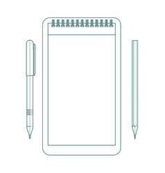 contour notepad with pen and pencil vector image