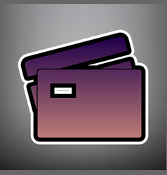 credit card sign violet gradient icon vector image