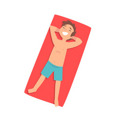 Cute boy sunbathing on beach towel top view of vector