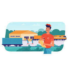 delivery logistics train parcels load unload vector image