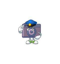 Design retro camera working as a police officer vector