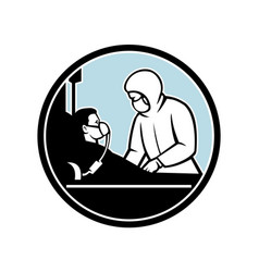 Doctor treating infectious patient circle retro vector