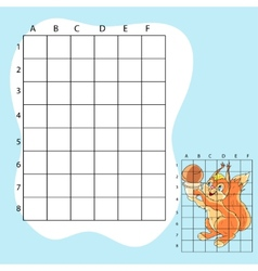 Draw on the squares A cute cartoon squirrel vector image