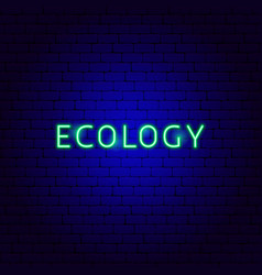 ecology neon text vector image