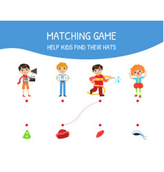 Educational matching game for children help kids vector