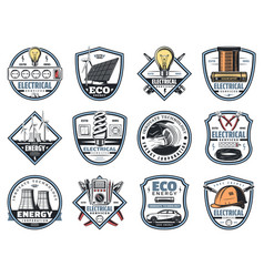 Electricity engineering business service icons vector