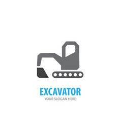 excavator logo for business company simple vector image