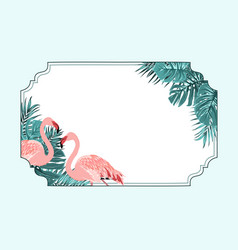 Exotic flamingo tropical horizonal border frame vector