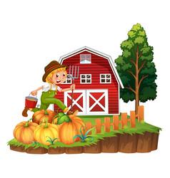 Farmer working on pumpkin garden vector