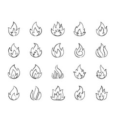 fire charcoal draw line icons set vector image