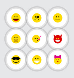 Flat icon expression set of pouting happy laugh vector