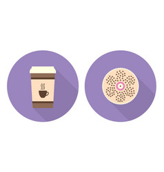 Flat set - cup of coffee and pie vector
