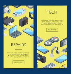gadgets banners isometric icons vector image