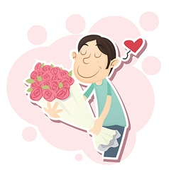 Giving flowers vector
