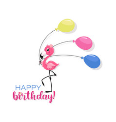 Happy birthday pink little flamingo with air vector