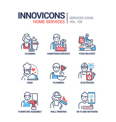 home services - line design style icons set vector image