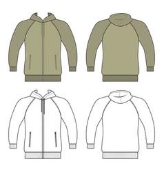 Hoodie zip fastener man template front back vector