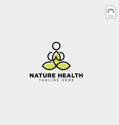 Human yoga and leaf logo template icon element vector