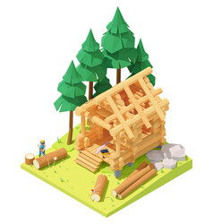 Isometric carpenter at log cabin building vector