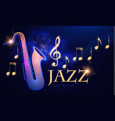 jazz concert music design element with saxophone vector image