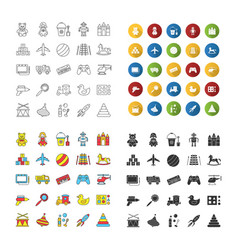 Kids toys icons set vector