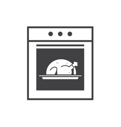 kitchen stove line icon oven with baked turkey vector image