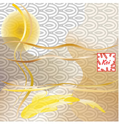 koi carp on traditional japanese background vector image