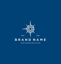 Letter b compass logo design vector