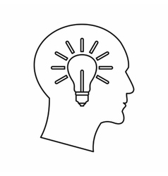 Light bulb inside a head icon outline style vector image