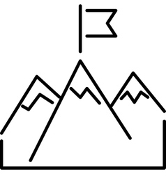 Line mountains with flag arrow success icon vector