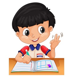 Little boy counting with fingers vector
