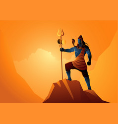 lord shiva standing on top a rock vector image