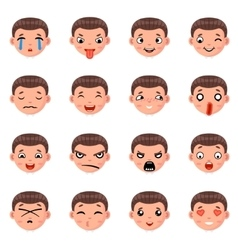 Male Boy Avatar Smile Emoticon Icons Set Isolated vector image