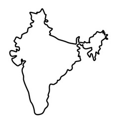Map of india icon black color flat style simple vector