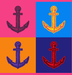 Marine anchor pop art style andy warhol style vector