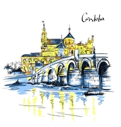Mezquita and Roman bridge in Cordoba Spain vector