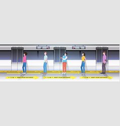 mix race subway passengers in protective masks vector image