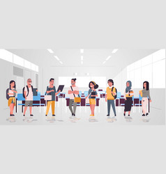Mix race teenage students group with backpacks vector