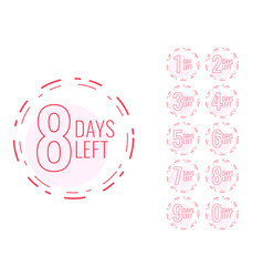 number days left symbol in minimal design vector image