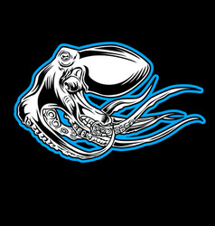 octopus sea blue drawing tattoo on black vector image