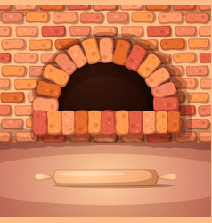Oven bonfire stove bakery rolling pin - cartoon vector