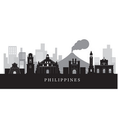 Philippines landmarks skyline in black and white vector