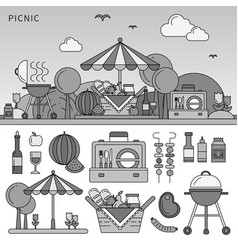 picnic on summer day line monochrome vector image