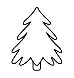Pine tree celebration merry christmas thick line vector